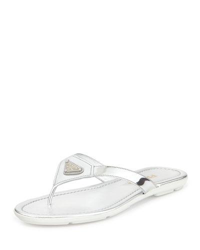 Patent Leather Logo Thong Sandal, Argento