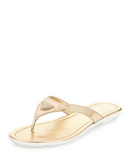 Metallic Leather Thong Sandal, Platino