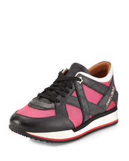 Jimmy Choo London Lace-Up Sneaker, Geranium/Black