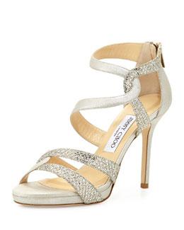 Jimmy Choo Tomar Strappy Glitter Sandal, Champagne