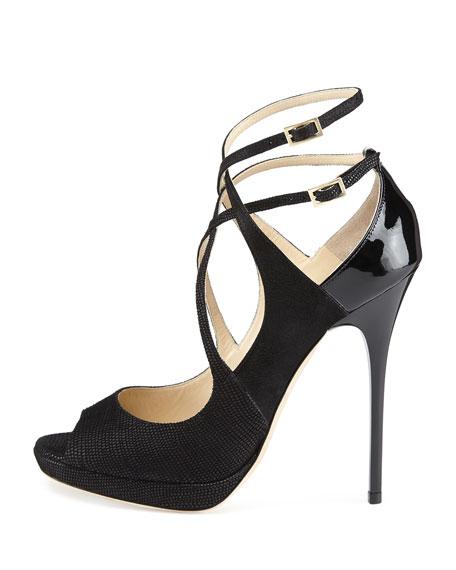 Atlas Leather Crisscross Sandal, Black