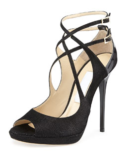 Jimmy Choo Atlas Leather Crisscross Sandal, Black