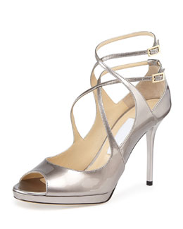 Jimmy Choo Arica Crisscross Peep-Toe Sandal, Musk