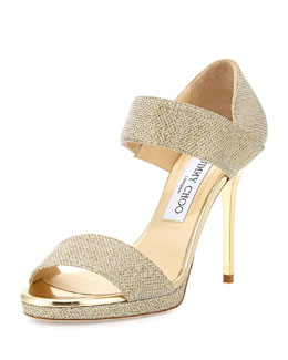 Jimmy Choo Alana Glitter Double-Band Sandal, Gold