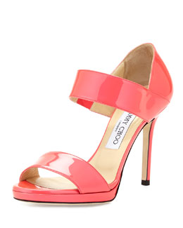 Jimmy Choo Alana Patent Double-Band Sandal, Geranium