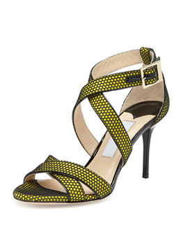 Louise Honeycomb Crisscross Sandal, Acid Yellow