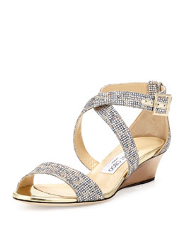 Jimmy Choo Chiara Glitter Demi-Wedge Sandal, Champagne