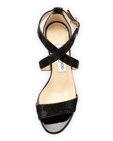 4696f7f8cbef Jimmy Choo Chiara Glitter Lace Demi-Wedge Sandal