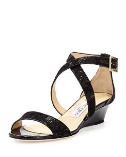 Jimmy Choo Chiara Glitter Lace Demi-Wedge Sandal, Black