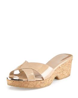 Jimmy Choo Panna Patent Slide Sandal, Nude
