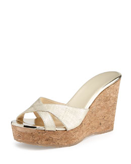 Jimmy Choo Perfume Textured Wedge Slide Sandal, Gold