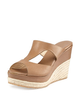 Jimmy Choo Pacane Leather Espadrille Wedge, Tan