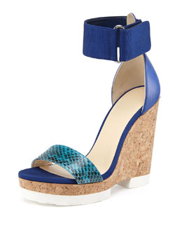 Jimmy Choo Neston Snake Wedge Sandal, Turquoise/Violet