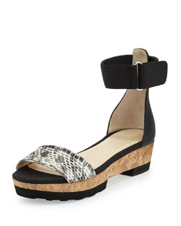 Jimmy Choo Neat Flat Platform Sandal, Natural/Black
