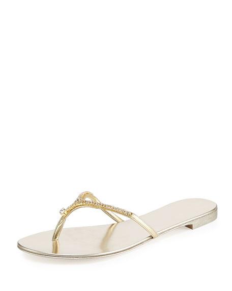 Metallic Crystal Thong Sandal, Gold