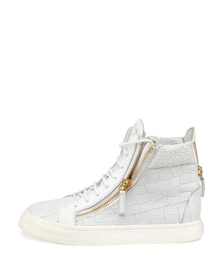Crocodile-Print High-Top Sneaker, Bianco (White)