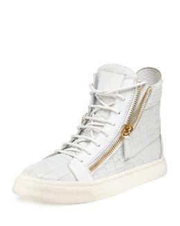 Giuseppe Zanotti Crocodile-Print High-Top Sneaker, Bianco (White)