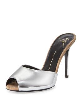 Metallic Specchio/Cork Slide Heel