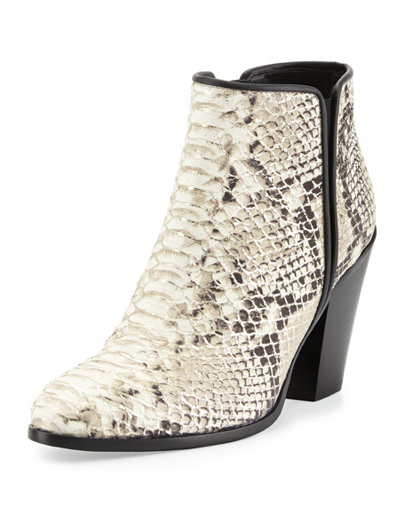 Silver-Tipped Python-Embossed Leather Bootie, Platino