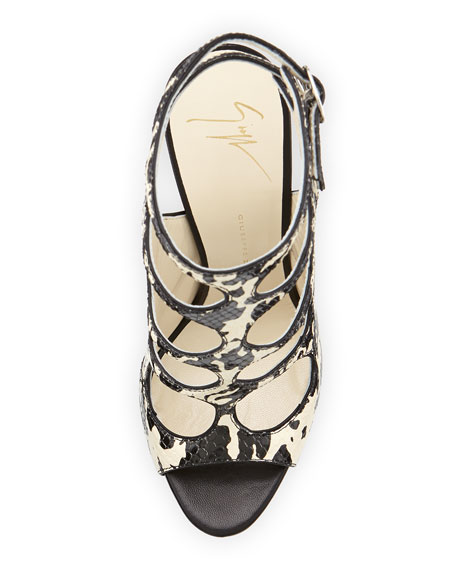Snake-Embossed Cutout Sandal, Avorio/Nero