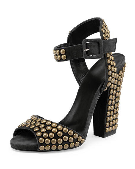 Studded Suede Chunky-Heel Sandal