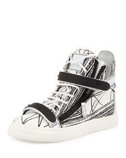 Giuseppe Zanotti Painted Faux-Python High-Top Sneaker