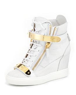 Giuseppe Zanotti Embossed Double-Strap Wedge Sneaker