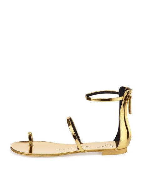Metallic Toe-Ring Flat Sandal