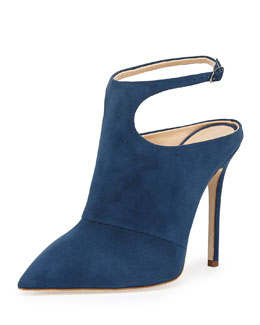 Suede Point-Toe Ankle-Wrap Mule, Blue