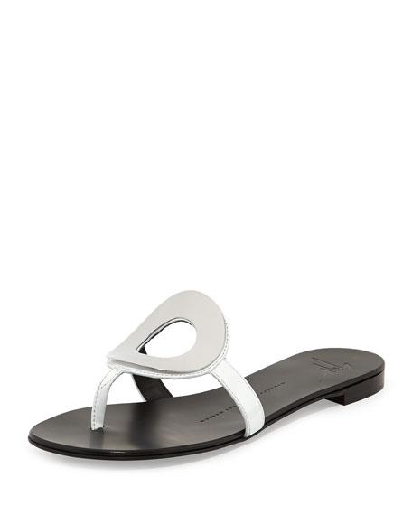 Circle Patent Thong Sandal, Bianco/Silver