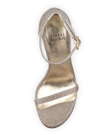 Nudist Metallic Ankle-Strap Sandal, Platinum/Noir