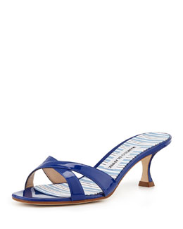 Manolo Blahnik Callamu Patent Crisscross Slide, Blue