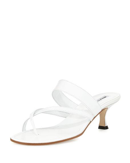 Manolo Blahnik Susa Low Heel Thong Slide Sandal White