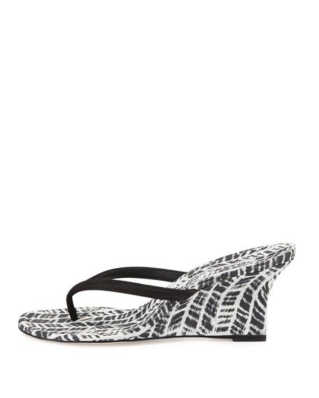 0e1816e69f0b2d Manolo Blahnik Patwedfac Printed Thong Wedge Sandal