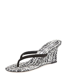 Manolo Blahnik Patwedfac Printed Thong Wedge Sandal, Black/White