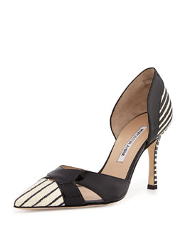 Crux Painted Snake d'Orsay Pump, Ivory/Black