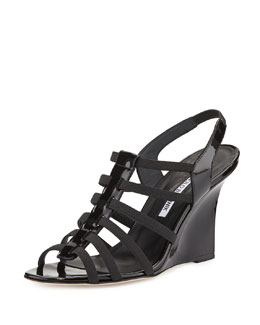 Iaggia Patent Wedge Sandal, Black