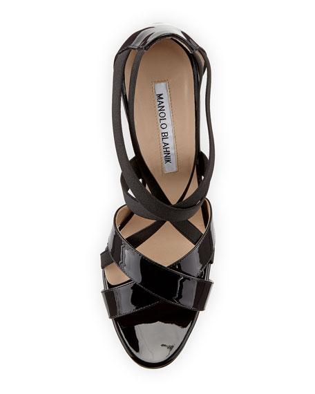 Eletti Patent Crisscross Sandal, Black