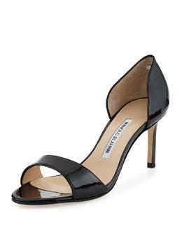 Catalina Patent Peep-Toe d'Orsay, Black