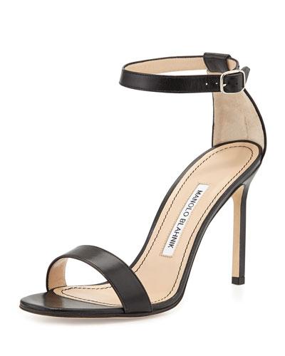 Chaos Leather Ankle-Strap Sandal, Black