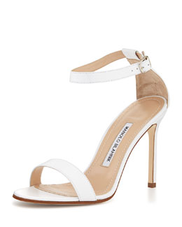 Manolo Blahnik Chaos Leather Ankle-Strap Sandal, White