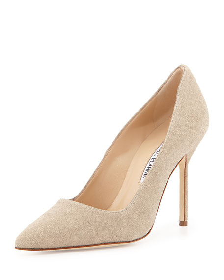 BB Sparkle-Suede Pump, Cream