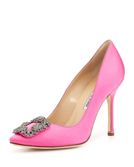 Hangisi Satin Crystal-Toe Pump, Pink