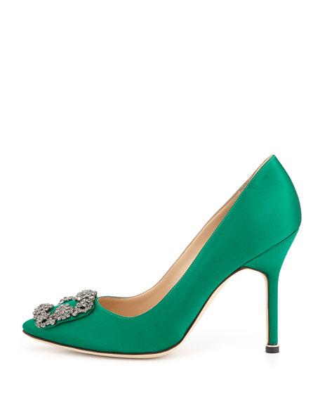 Hangisi Satin Crystal-Toe Pump, Green