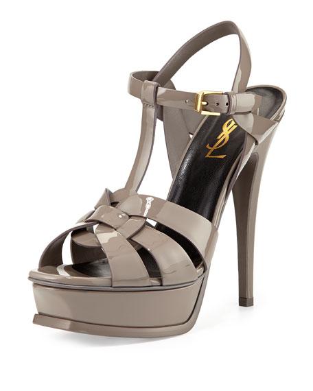 08062a4ff64 Saint Laurent Tribute Patent Platform Sandal, Fog