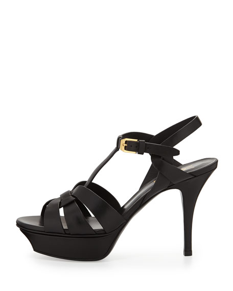 Tribute Leather Mid-Heel Sandal, Nero