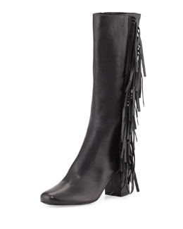 Napa Fringe Knee Boot, Nero (Black)
