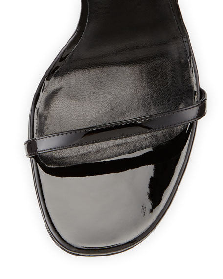 Patent Ankle-Wrap Sandal, Black