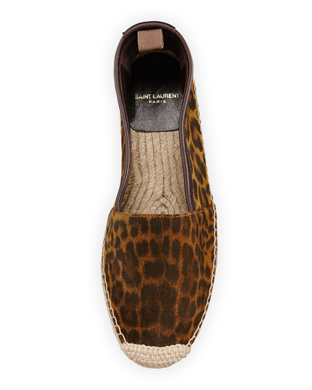 Leopard-Print Suede Espadrille Flat