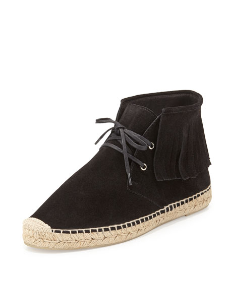 Suede Fringe Lace-Up Espadrille Bootie